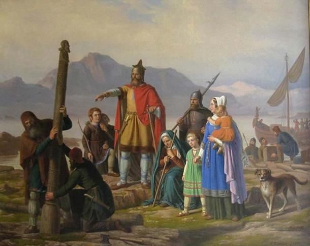 A painting depicting Ingólfr Arnarson, the first settler of Iceland, newly arrived in Reykjavík