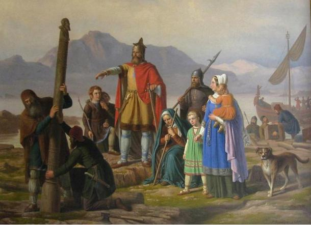 Ingolf tager Island i besiddelse,by P. Raadsig (1850). Depicting Ingólfur Arnarson, the first permanent settler in Iceland. Legend says he threw two pillars overboard and vowed to settle wherever they landed. They landed in what is known today as Reykjavik (Cove of Smoke).