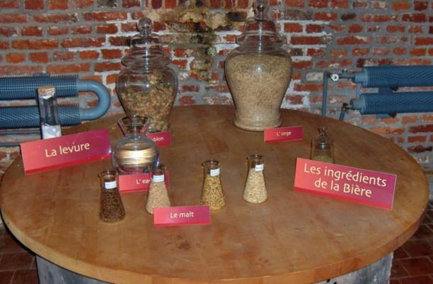 Ingredients of beer in the ancient brewery of Le Cateau Cambrésis, France, including water, malt, barley and yeast