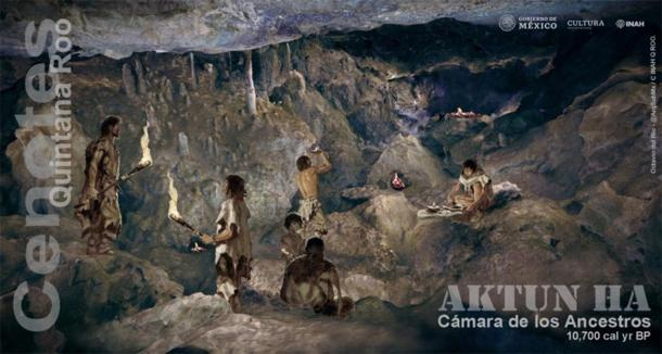 Inhabitants of the Chamber of Ancestors of the Aktun Ha cenote. Illustrated by Octavio del Río. (Image: INAH)