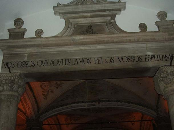 """Inscription above the door translates as, """"We bones, are here, waiting for yours."""""""