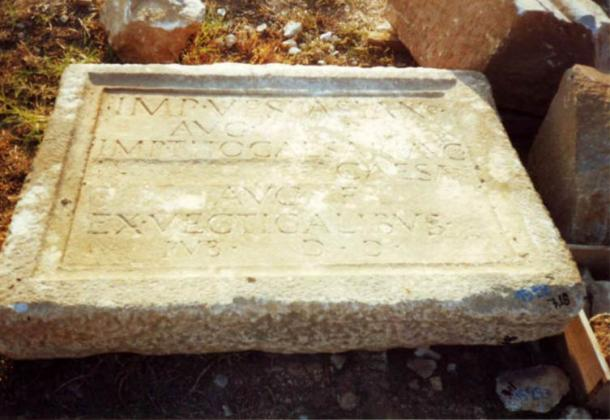 Inscription found in Phillipi, Greece, with the name of emperor Domitian erased after his damnatio memoriae