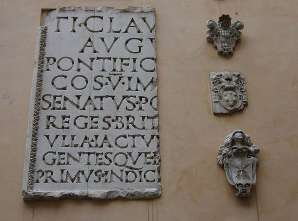 Inscription from the Arch of Claudius, Capitoline Museums.