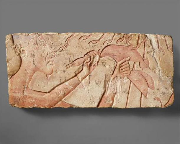 Inscription on limestone talatat block showing Akhenaten offering a duck before the rays of the Aten; now in the MET, Ascension #: 1985.328.2. Please see this site for further images depicting how this scene would have originally appeared. (Met Museum)
