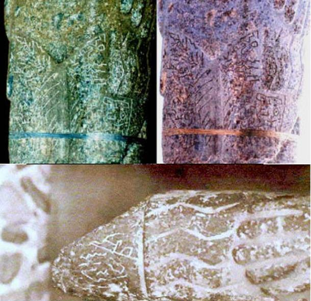 Inscriptions on the Pokotia monolith's legs (top) and hand (bottom). (Author provided)