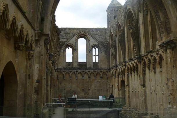Inside ruins of Glastonbury Abbey.
