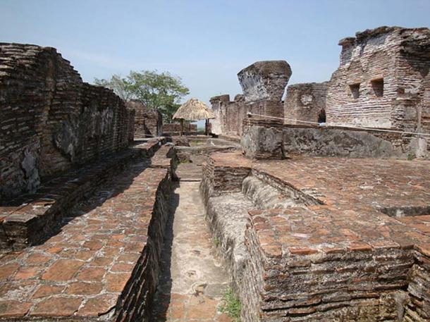 Inside the Great Acropolis of Comalcalco, Tabasco, Mexico.