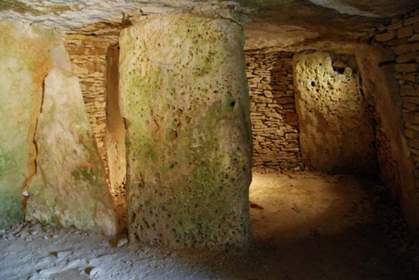 Inside the burial chamber of tumulus A
