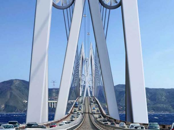 Inspired by the mythological sea creatures Scylla and Charybdis, six turbines on each tower would reduce the carbon footprint of the bridge features to zero. (Courtesy of Saverio Adriano Marchisciana)