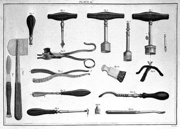 Instruments for trepanning, 18th century.