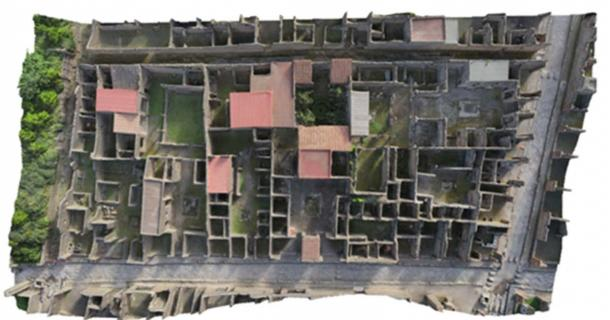 An overhead view of Insula VI, the city block that was reconstructed.