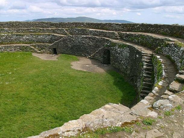 Interior view of tiered wall and steps of Grianan of Aileach, Donegal, Ireland