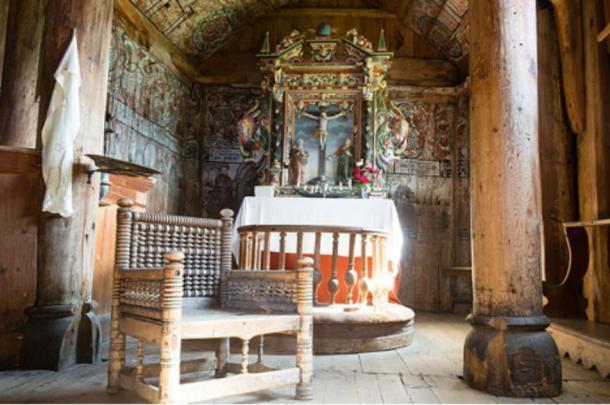 Interior, Urnes Stave Church, Ornes, Sweden.