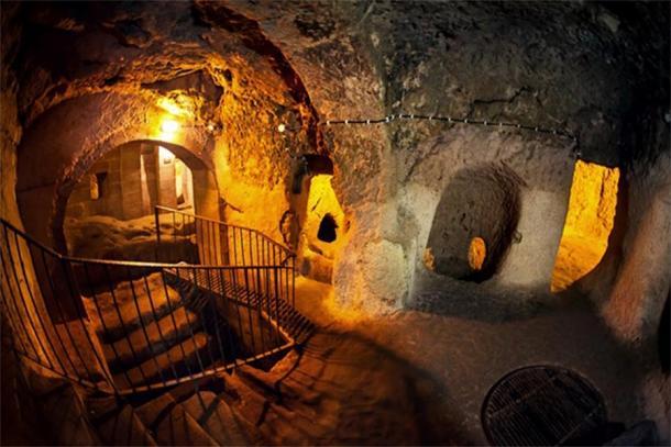 Interior of underground city in Cappadocia, Turkey ( byheaven/ Adobe Stock)