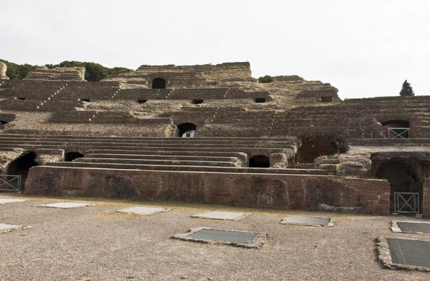 Interior view of arena and tiered seating of the Flavian Amphitheater (Enrico Della Pietra