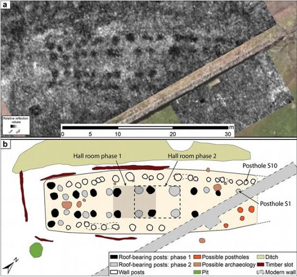 Interpretative mapping of the GPR data revealed at least two construction phases of Viking hall / building A, as indicated by the layout of the roof-bearing posts. The two rectangles in the center of the building indicate the location of the central open areas. (Antiquity Publications Ltd)