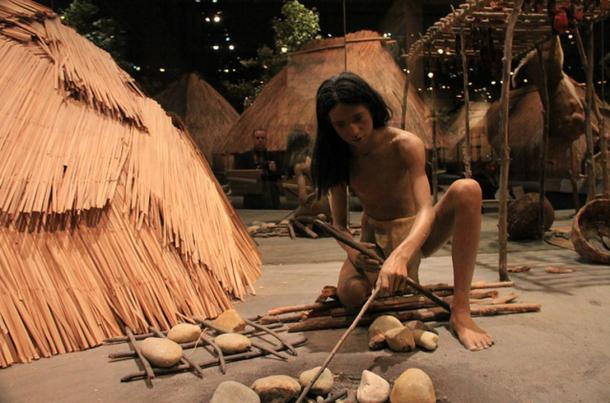 Interpretive Center at Cahokia Mounds, display depicting everyday life in the once-thriving ancient metropolis.