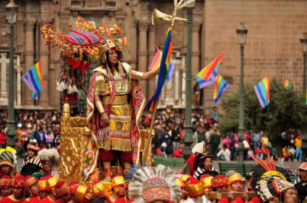 Inti Raymi celebrations in Cusco, Peru. Here an indigenous person of Peru is dressed as the Inca Emperor