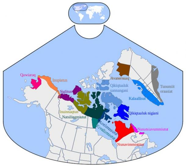 Distribution of Inuit dialects.