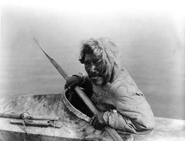 Inupiat in a kayak, Noatak, Alaska, c. 1929 (photo by Edward S. Curtis)