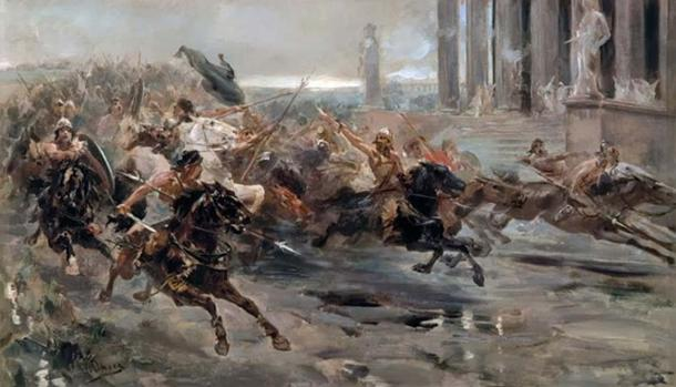 'Invasion of the Barbarians' or 'The Huns approaching Rome,' by Ulpiano Checa.