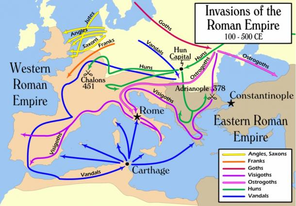 Invasions of the Roman Empire with the Vandals movements shown in blue.