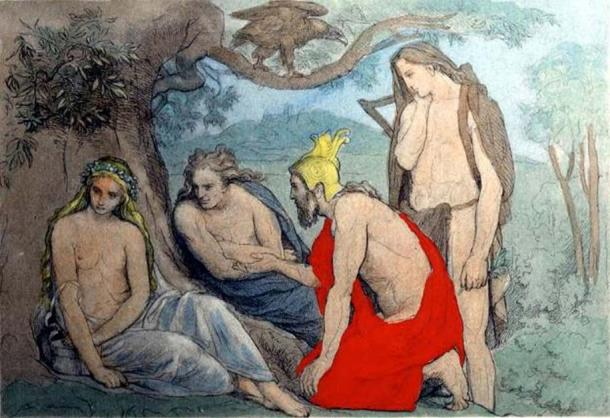 From left to right: Iðunn, Loki, Heimdallr and Bragi. Illustration of a scene from the poem Hrafnagaldr Óðins. (Public Domain)