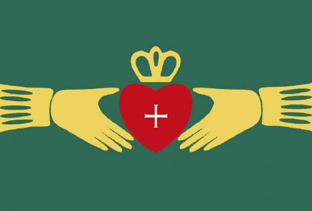 The design of a traditional Irish Claddagh ring symbol on a banner.