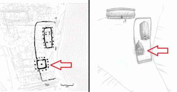 The tower area with a fenced ceremonial house and a north-south facing house dating to the Iron Age and Viking Age. The tower is indicated by the red arrows.