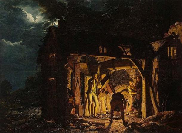 'Iron Forge Viewed from Outside' (1773) by Joseph Wright of Derby.