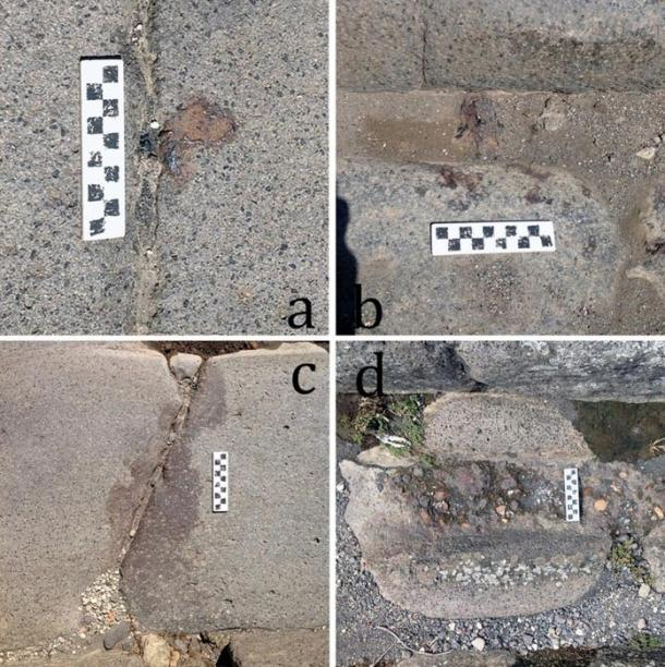 Iron remains found on Pompeii's streets: 'A' shows an iron droplet, 'B' shows iron splatter, and 'D' an iron stain.