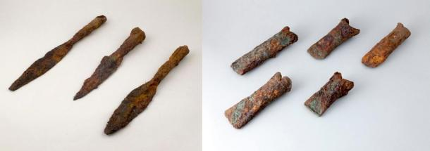 Iron spears and axe heads found in the stashes from 2012.
