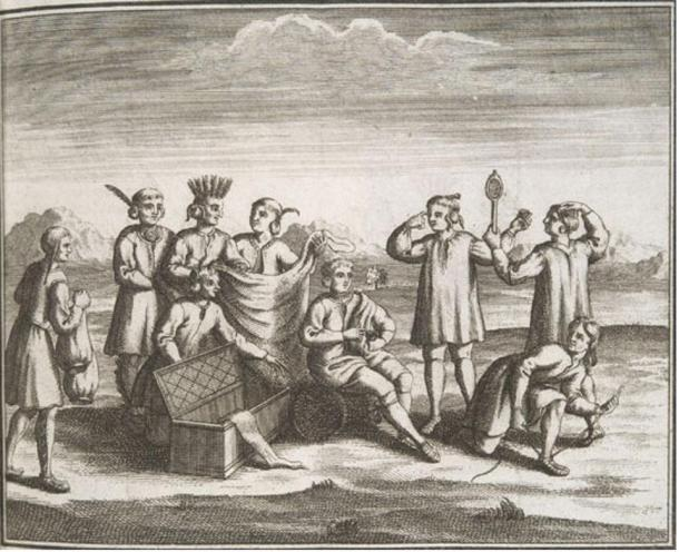 Iroquois Native Americans engaging in trade with Europeans, 1722.