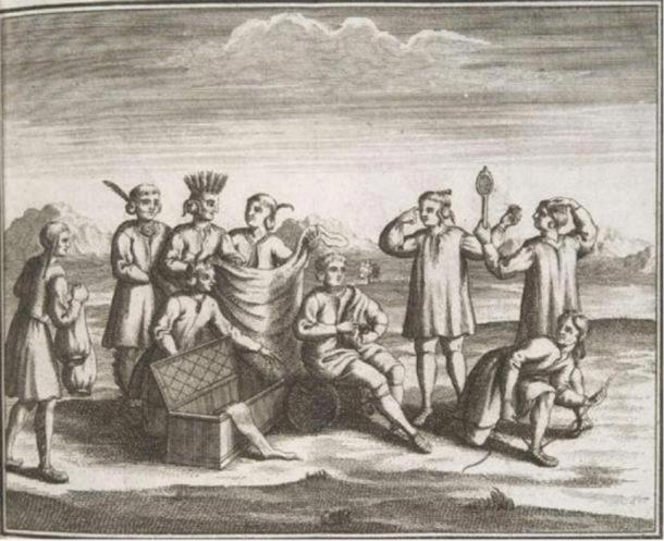 Iroquois engaging in trade with Europeans, 1722. (Public Domain )