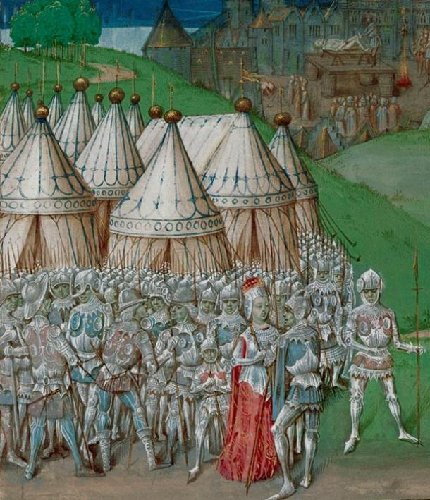 15th-century manuscript illustration of Isabella of France with Roger Mortimer.
