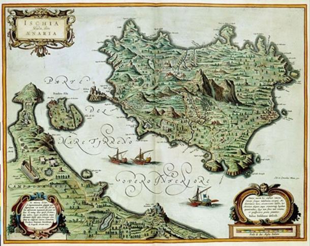 Ischia Island in the Atlas Van Der Hagen originally by the Italian cartographer Giovanni Antonio Magini (1555-1617) and copied by Joan and Cornelius Blaeu in 1640 (Public Domain)