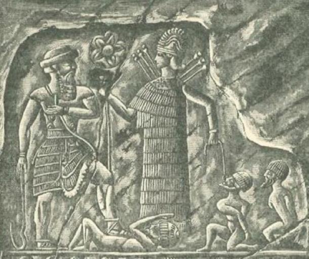 Ishtar/Inanna as a warrior presenting captives to the king. (Public Domain)