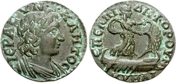 """Image of Isis Pelagia """"Isis of the Sea"""" on a Roman coin. Forchner G (1988) Die Münzen der Römischen Kaiser in Alexandrien, Frankfurt."""