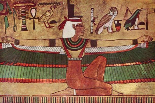 Isis depicted in Egypt with outstretched wings (wall painting, c. 1360 BC)