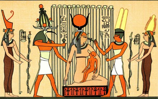 Isis in papyrus swamp suckling Horus. (Public Domain)