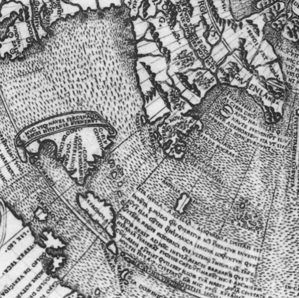 Inscription of the Isle of Demons off Newfoundland in the map
