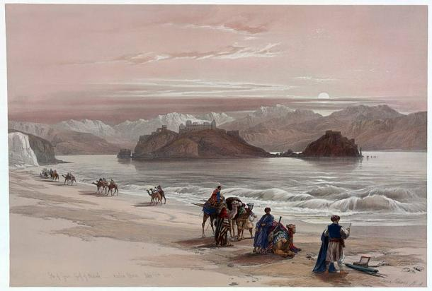 'Isle of Graia Gulf of Akabah Arabia Petraea' by David Roberts; depicting the Pharaoh's Island in the northern Gulf of Aqaba off the shore of Egypt's eastern Sinai Peninsula.