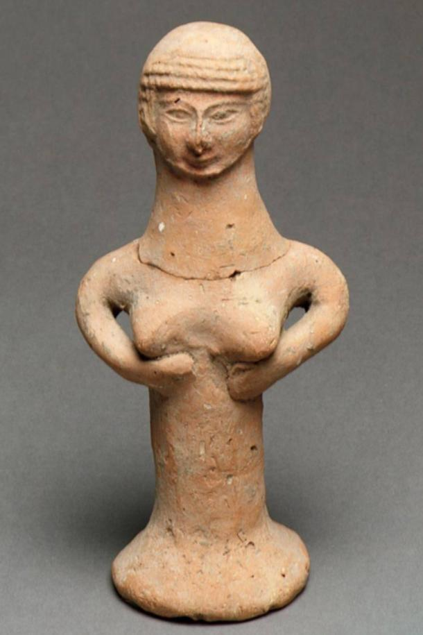 Israelite ceramic figure of a nude woman, identified as an Asherah pillar.