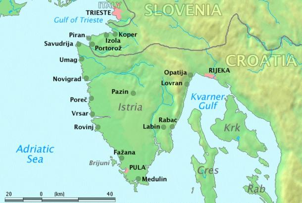 The Istrian peninsula, area of origin of the Histi pirates. Trieste, Italy is shown to the north. Istria is now shared by three countries: Croatia, Slovenia, and Italy.