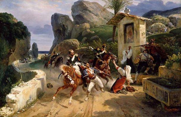 Italian Brigands ('banditi') Surprised by Papal Troops (1831) by Horace Vernet.