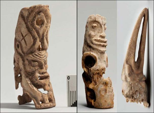 While far from identical, Itkol figurines are said to be stylistically similar to the fisherman's pagan god. Pictures: Andrey Polyakov & Yuri Esin