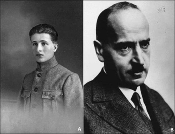 A) Ivan Borkovský, the discoverer and excavator of the Viking/ warrior skeleton burial at Prague Castle in 1928; B) Karel Guth, Head of the Historical Archaeology Department of the National Museum, Prague, and in charge of the Prague Castle excavations. (Cambridge Core / Fair Use)