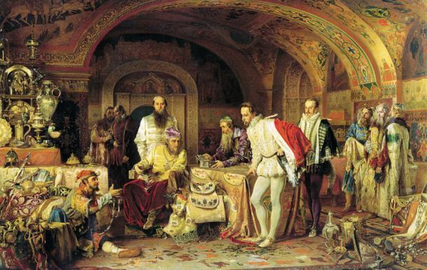 Ivan IV of Russia (Ivan the Terrible) demonstrates his treasures to the ambassador of Queen Elizabeth I. Painting by Alexander Litovchenko, 1874.