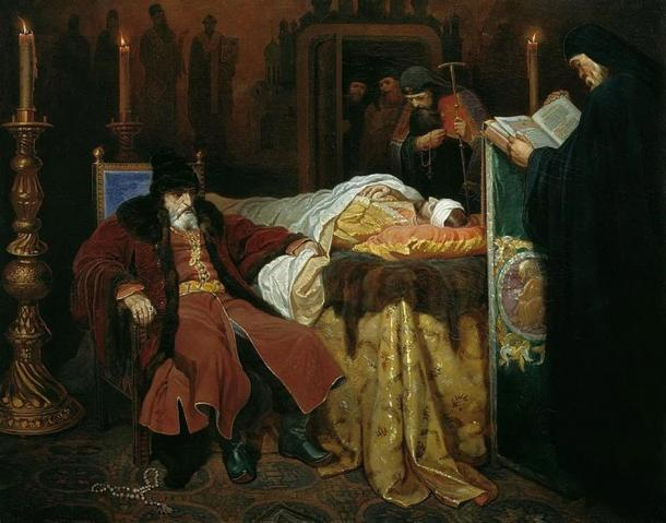 Ivan the Terrible near the body of his son Ivan Ivanovich, whom he murdered in a fit of rage. By Vyacheslav Schwarz.