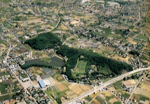 An aerial view of the Iwajuku site.